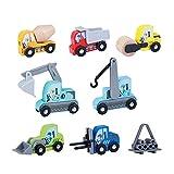 Motto.H Mini ziehen Autos zurück, 8 Stück Mini Kunststoff Pull-back und gehen Auto, Baufahrzeug Spielzeug, Bagger Spielzeug Kinder, Classic Construction Team Vehicle für 3-Jährige