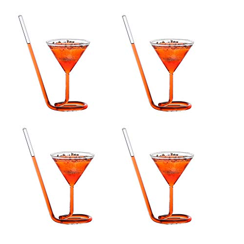 BAIVIN Crystal Spiral Cocktail Glas 4er Set mit Glas Stroh Rot Weinglas Martini Cup Family Bar Supplies