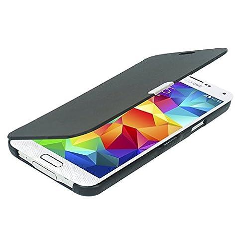 S5 Coque, Galaxy S5 Coque, MTRONX Ultra Slim Flip Magnetic Cuir Etui Housse Poche Cas Couverture pour Samsung Galaxy S5 - Noir(MG-BK)