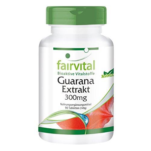 Guarana-Extrakt 300mg GROSSPACKUNG - VEGAN - HOCHDOSIERT - 90 Tabletten - Paullinia cupana