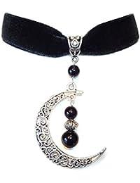 Collier ras-de-cou Gothique Velours Noir, Onyx Noir et Croissant de Lune b6598128fe51