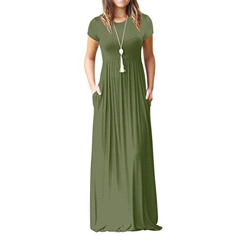 ider Elegant Einfarbig Falten Kurzarm Lose Strandkleid Bandeau Langarm Beach Maxi Kleider mit Tasche (L, Grün) ()