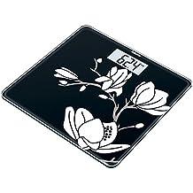 Beurer GS-211 - Báscula de baño de vidrio, color negro con dibujo blanco
