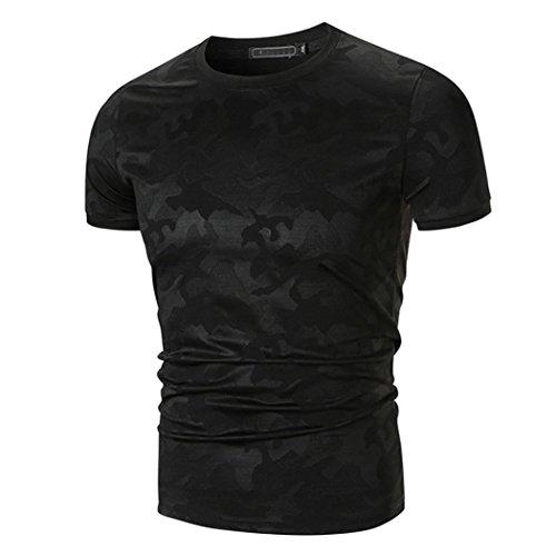 ASHOP Herren T-Shirt Lässige Slim Fit Solid Kurzarm T-Shirt Top Bluse (S, Schwarz)