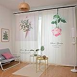 Vorhang Blickdichte Vorhänge Gardinen Wohnzimmer Gardine Polyester-Gewebe Optik Gardinenschal Mit Grüne Pflanze 1 * 2.7M,1 * 2.7M