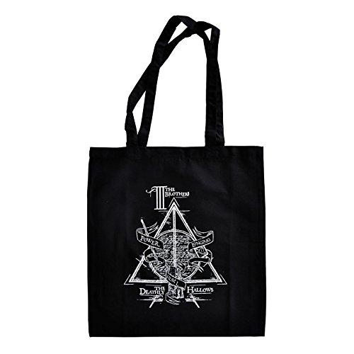 Su licenza ufficiale di Harry Potter borsa in cotone, manico lungo, da portare sulla spalla, materiale resistente e durevole, Uomo, Black Black