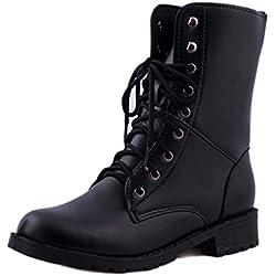 ❤️ Botas de los Hombres de Las Mujeres, Zapatos Planos Negros del Combate del ejército Militar con Cordones Planos del cordón Botas de la Vendimia Absolute