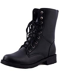 Zapatos de mujer Zapatos de hombre Botas cortas de mujer Señoras Martín Botas Otoño invierno Calentar Cuero Cordones Plano Negro Casual Botas LMMVP
