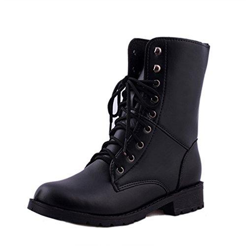 HARRYSTORE Unisex Schnüren Wohnung Stiefel Militär Armee Kampf Schwarz Stiefel Schuhe (EU:39, Schwarz) (Manschette Kalb)
