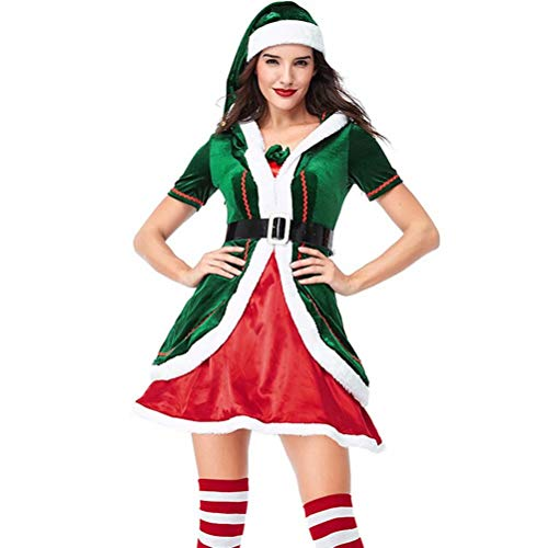 Tsyllyp Damen Sexy Elf Santa Kostüm Party Kleid Weihnachten Halloween Outfits - - (Santas Helper Sexy Kostüm)