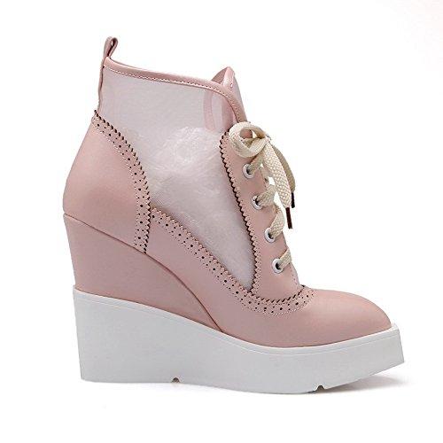 AgooLar Damen Niedrig-Spitze Rein Schnüren Hoher Absatz Stiefel, Pink, 35