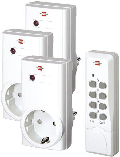6 Stück Brennenstuhl Funkschalt-Set RCS 1000 N Comfort, 3er Funksteckdosen Set (mit Handsender und Kindersicherung) Farbe: weiß (insgesamt 18 Funkdosen)