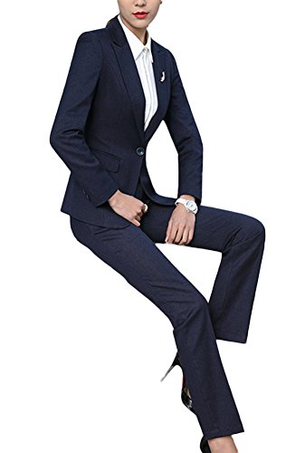 SK Studio Damen Business Hosenanzuge Slim Fit Blazer Reverskragen Karriere Hosen Anzug Set Blau 38 Tag XL