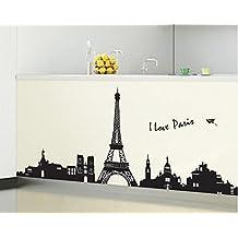 ufengke® Paris Silueta de La Torre Eiffel de La Ciudad Pegatinas de Pared, Sala de Estar Dormitorio Removible Etiquetas de La Pared / Murales