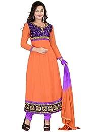 Jheenu Women's Gajri Georgette anarkali Embroidered Unstitched Dress Material