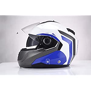 Sparco Riders 99617 Casco Moto Modulare, Bianco/Blu, Taglia XL