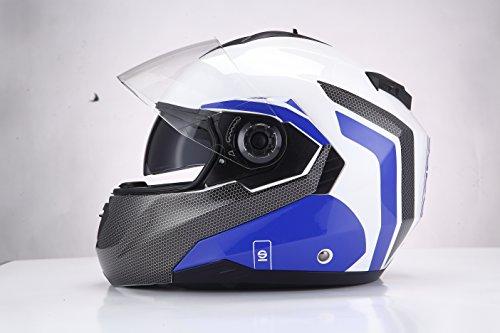 Sparco Riders 6336 Casco Moto Modulare, Bianco/Blu, Taglia L