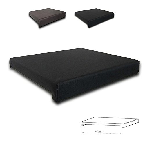 Klemmkissen Sitzkissen 2 Leisten - 40cm Klemmtiefe Kunst-Leder braun oder schwarz, Farbe:schwarz (Bank-kissen 41)