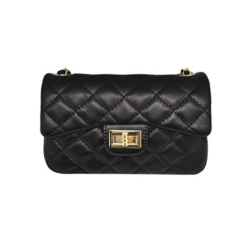 Schwarze, Gesteppte Clutch (COSTANZA KUPPLUNG Schulter Clutch Handtasche, große gesteppte Leder Handtasche mit Licht Gold Kette Leder Schulter, glattes weiches Leder (Schwarz Klein))