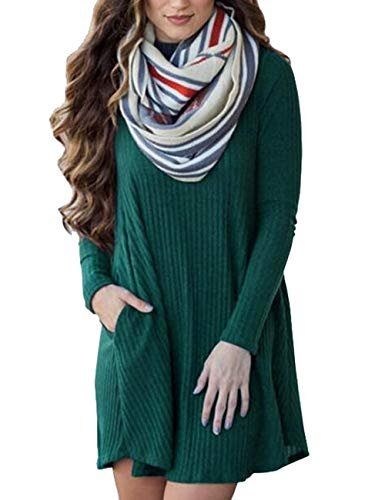 Amitafo Robe Pull Tricot Femme Manches Longue Automne Hiver Casual Mince Robe Sweater Tricot Ras du Cou Pull-Over Jumper Tunique Blouse