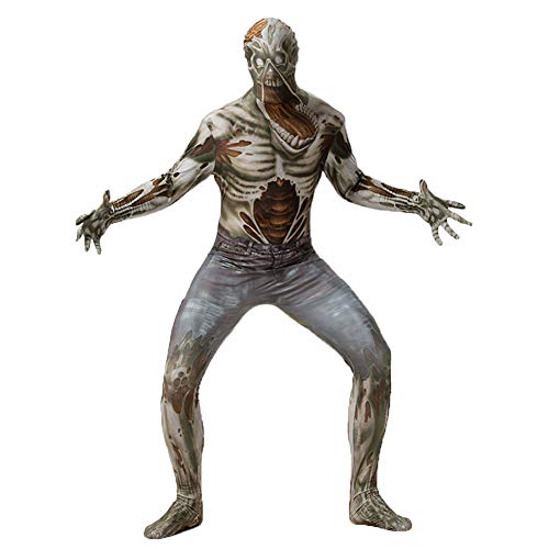 Denim Kostüm Overall - Halloween Horror Erwachsenen Skelett Overall, Cosplay Denim Overall, Festival Maskerade Halloween Zombie Show Kostüm,M