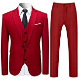 Costume Homme 3 Pcs Costard Blazer Veste et Pantalon Gilet Mariage Party Smoking, Rouge, S