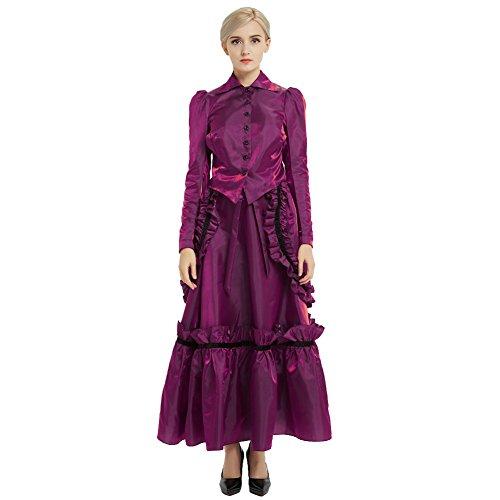 GRACEART Steampunk Edwardian Vestido de Chaqueta y Trajes de Falda con Bullicio (Púrpura, 6)