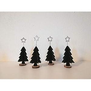 4er-Set Tischkartenhalter für Weihnachten aus schwarzem Papier in Tannenbaumform//Christbaum/Platzkartenhalter…