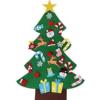 Unique Store Árbol de Navidad de Fieltro, 3ft Bricolaje árbol de Navidad de Fieltro con 32 Adornos Desmontables año niños de Pared de Puerta Decoración Colgante
