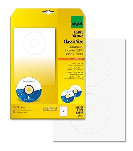 Sigel LA525 - Etiquetas para CD y DVD (50 unidades), transparente