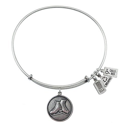 Wind and Fire Ice Skates Silver Medal Charm Bangle by Wind and Fire