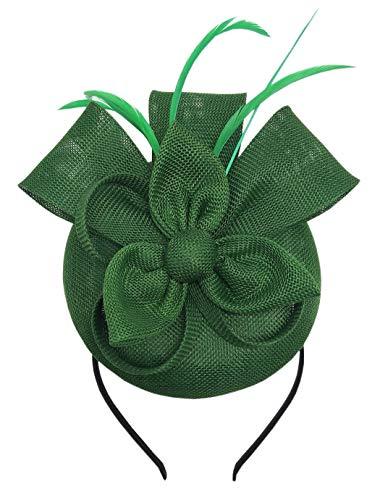 Coolwife Fascinators Pillbox Hut Sinamay Feder Blume Derby Ball Hochzeit Kirche Party Haarspange (Grün)