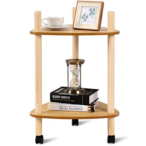 COSTWAY Beistelltisch Sofatisch Nachttisch Telefontisch Anstelltisch Konsolentisch Kaffeetisch Balkontisch Wohnzimmertisch Flurtisch auf Rollen Holz Natur (Modell 1(44x44x68cm))