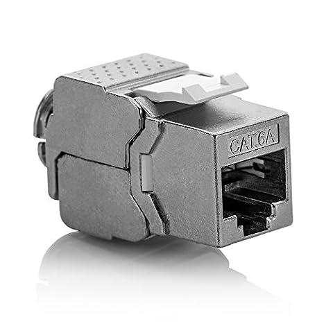 deleyCON 1x Keystone Modul CAT 6a Jack / vollgeschirmt STP / RJ45 Buchse / werkzeugfrei dank Snap-In Montage / CAT Rohkabel / 500Mhz / 10GBit/s
