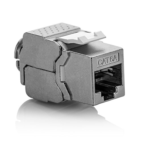 Cat6a-buchse (deleyCON 1x Keystone Modul CAT 6a Jack - Vollgeschirmt STP RJ45 Buchse Werkzeugfrei Dank Snap-In Montage CAT Rohkabel 500Mhz 10GBit/s)