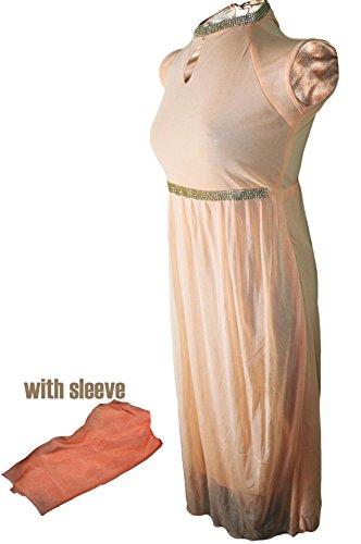 NexDil Knee-Long Girl's Dress With 3/4 Sleeve Included (Light Orange)