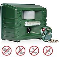 Ahuyentador ultrasónico de plagas y Animales Yard Sentinel RC, con Detector de Movimiento, 4 mandos a Distancia, luz estroboscópica y Sonido de depredador (Enchufe británico)
