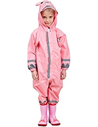 Zilee Niños Traje de Lluvia Chubasquero - Niña Traje de Lluvia para Niños Impermeable Pantalones Chubasquero Poncho,Deportes,Cámping,Viajes,Al aire libre