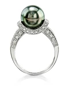 10mm Tahitian South Sea Cultured Pearl & Diamond Sparkling Jewel Ring in 18K Gold