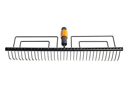 Fiskars Rasenrechen mit 35 Zinken, Werkzeugkopf, Breite: 57 cm, Gehärtete Stahlzinken, Schwarz, QuikFit, 1000656