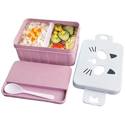 OldPAPA brotdose Schule Cartoon Bento-Boxen mit löffel, Kinder Niedlichen Brotdose Lunch Box Rosa