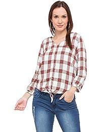 Kraus Jeans Womens V Neck Check Top