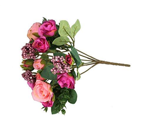 GMMH 15 Rosen Bund 27 cm Hoch Seidenblumen Kunstblumen Rose Hochzeit Blumenstrauß