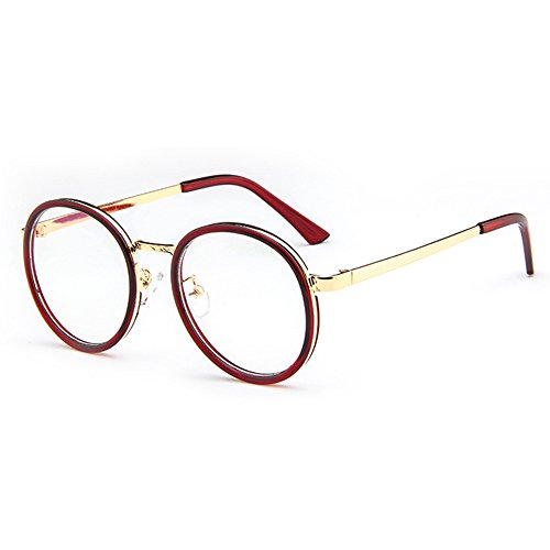 Forepin Nerdbrille Ohne Stärke Retro Runde Brille mit Brille Metall Rahmen reg; Unisex Klare Linse Brillenfassun Dekobrille Klassisches Rund Rahmen Glasses