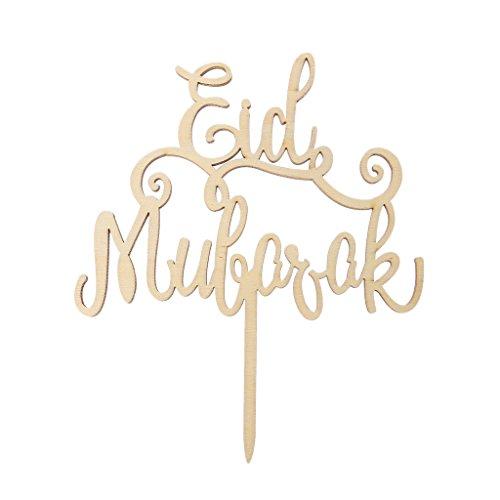Dabixx Wood Eid Mubarak Ramadan Wedding Cake Topper Muslim Islam Hajj Decoration Craft Gold (Gold Cake Wedding Topper)