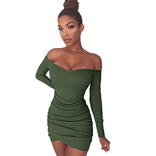 Fee-lice Damen Bodycon Minikleid Langärmelige Rock Kleid Unregelmäßige Falten Paket Hüfte Schulterfreie Kleider (L, Armee (Grüne Kleid Fee)