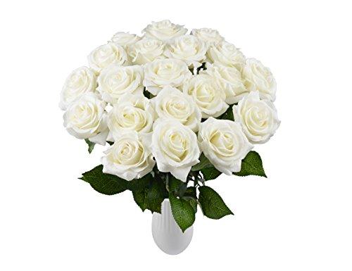 Rosen 10 Stück Real Touch Schöne Echtes Moisturizing Curling Knospe Latex künstliche Rose Kunstblumen Blume Dekoration Blumenstrauß Blumenarrangement (Weiß)