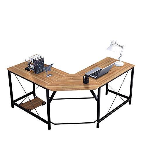 SogesHome Bureau d'angle en Forme de L Bureau d'ordinateur en L (150 + 150) * l55 * H76 cm Grande Table de Bureau Poste de Travail de Bureau,LD-Z01-OK-SH
