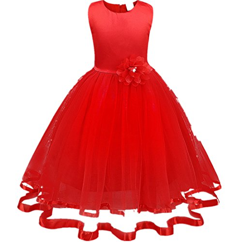 Mädchen Prinzessin Kleid Sannysis Blumenmädchenkleid Mädchen Prinzessin Kinderkleid Partykleid Tutu Tüll Kleid Party Brautkleid (Rot-Prinzessin, 110)