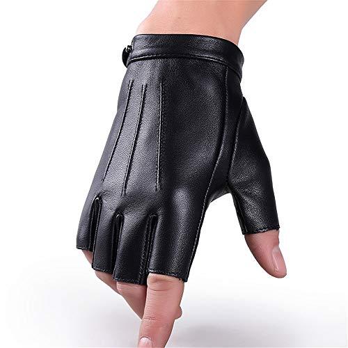 (NIGHT WALL Männer Schaffell Warm im Herbst und Winter Half Finger Snap Performance Gloves Anti-Skid eignet Sich für Das Fahren, Outdoor-Taktiken, M)